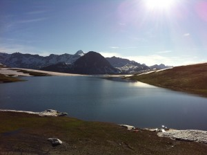The Lac de l'Ouillette with Tignes in the background