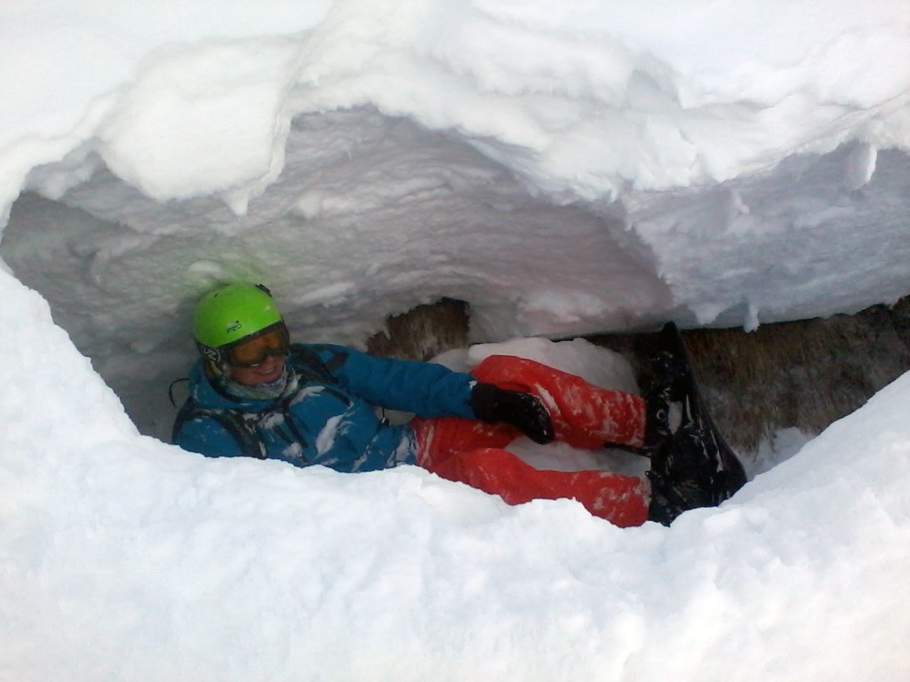 Heinzy stuck in a crack in the snowpack