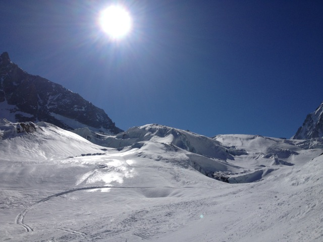 Snowboarding across the Argentiere glacier