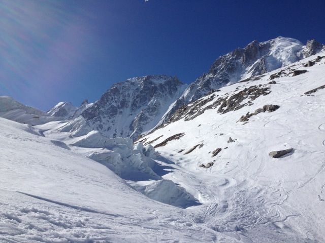 Snowboarding on Argentiere glacier