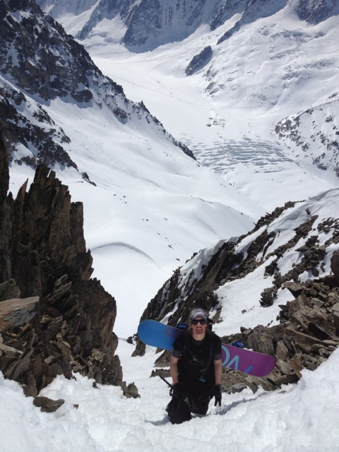 Cecile near the top of the couloir up to the Col du Passon
