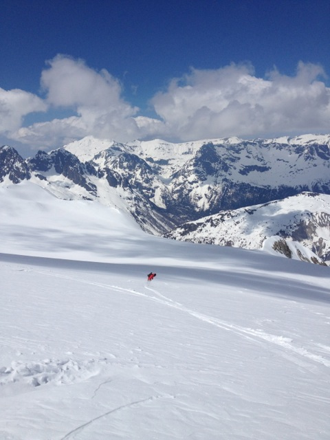 Gary laying it out on the Glacier du Tour