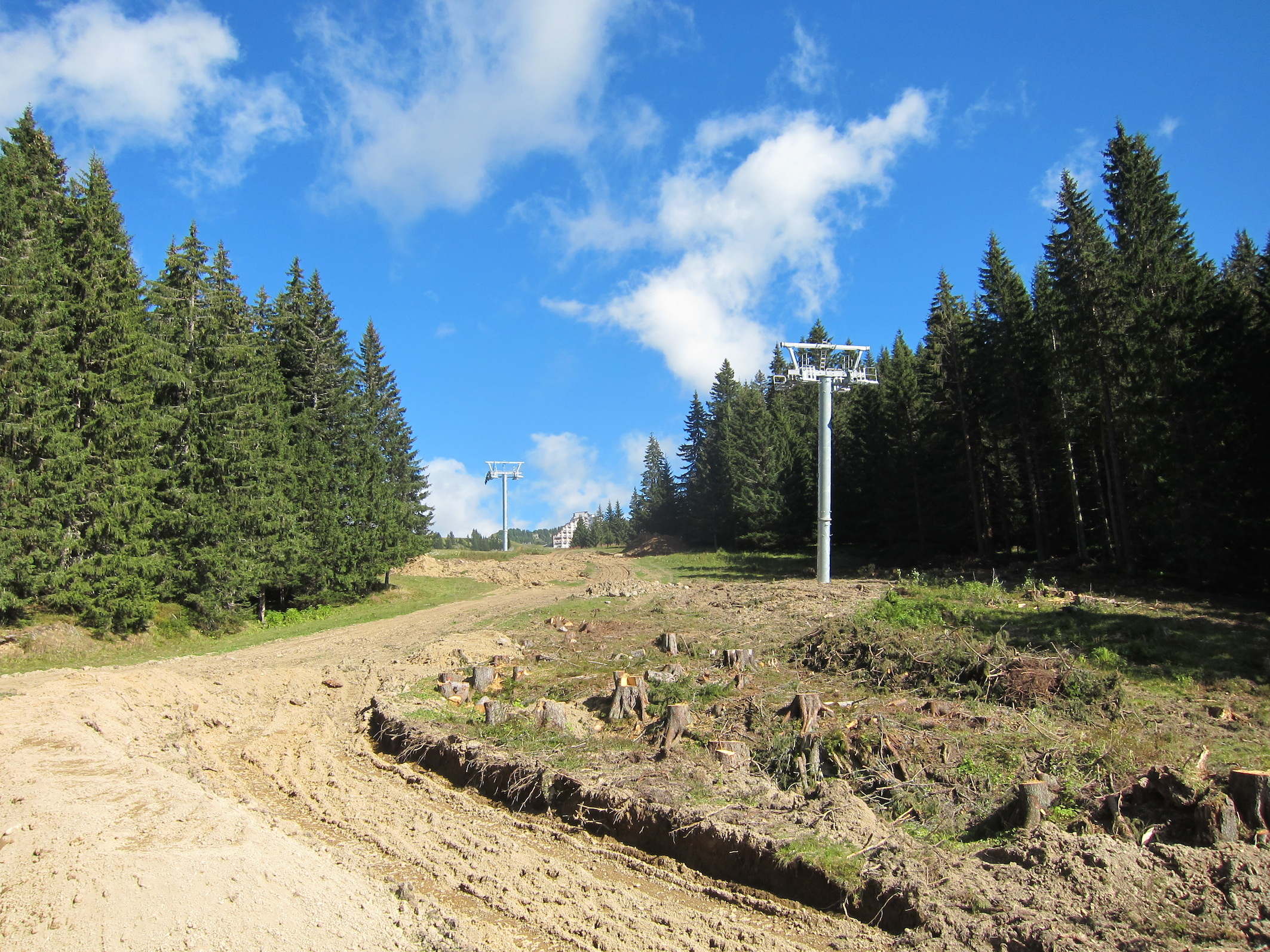 Lots of trees have been cut down to widen the bottom of the Proclou slope.