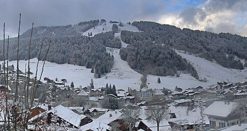 morzine village in snow