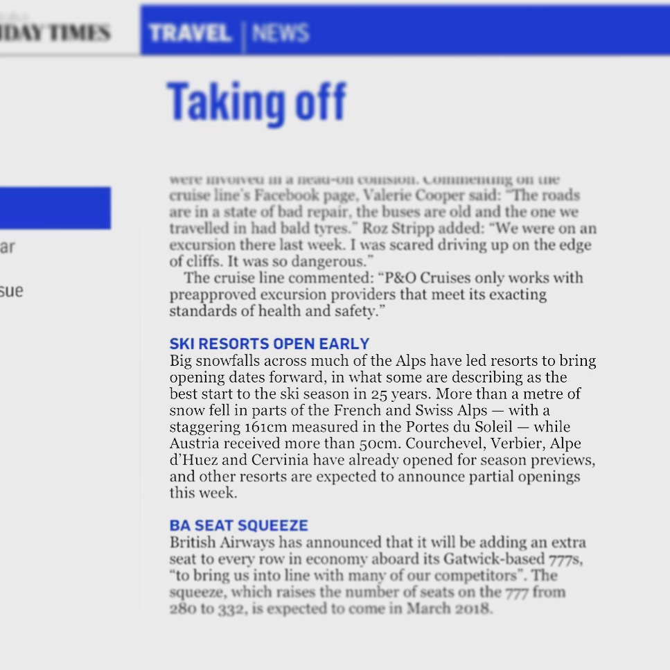 Sunday Times Travel snow