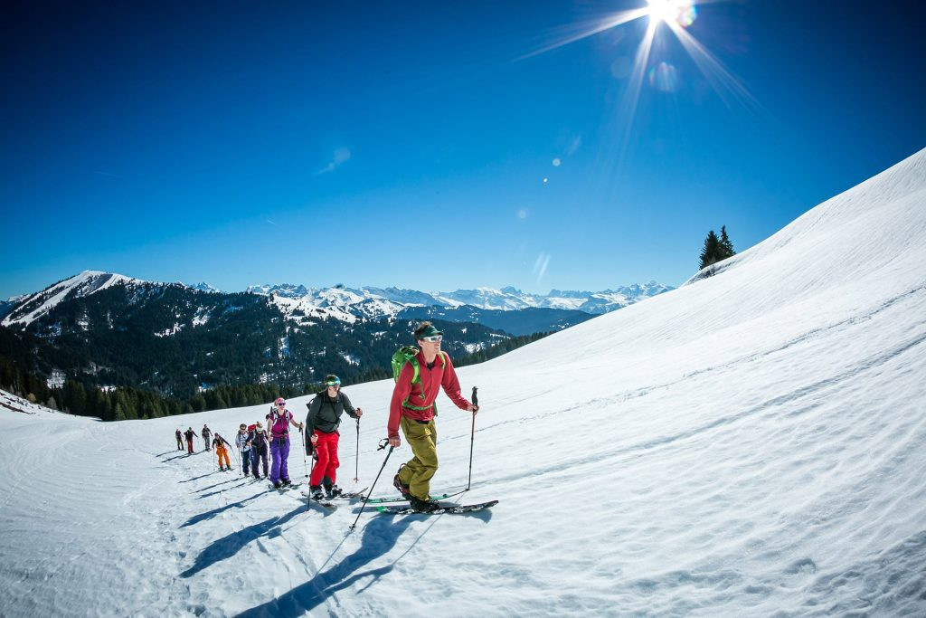 Group of people splitboarding