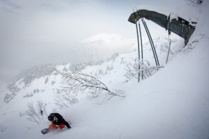 Snowboarder on a powder day