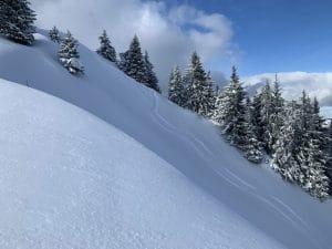 snowboarding fresh tracks in powder